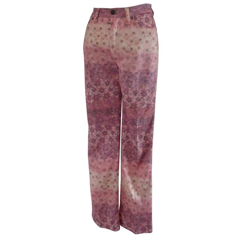 Moschino Pink Flower Cotton Jeans