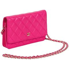 Chanel Fushia Quilted Wallet on a Chain Cross Body Bag