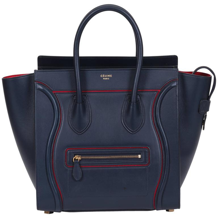 cea23eb784 Celine Limited Edition Navy Red Leather Mini Luggage Bag at 1stdibs