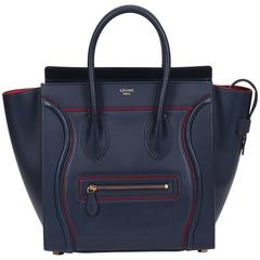 Celine Limited Edition Navy Red Leather Mini Luggage Bag
