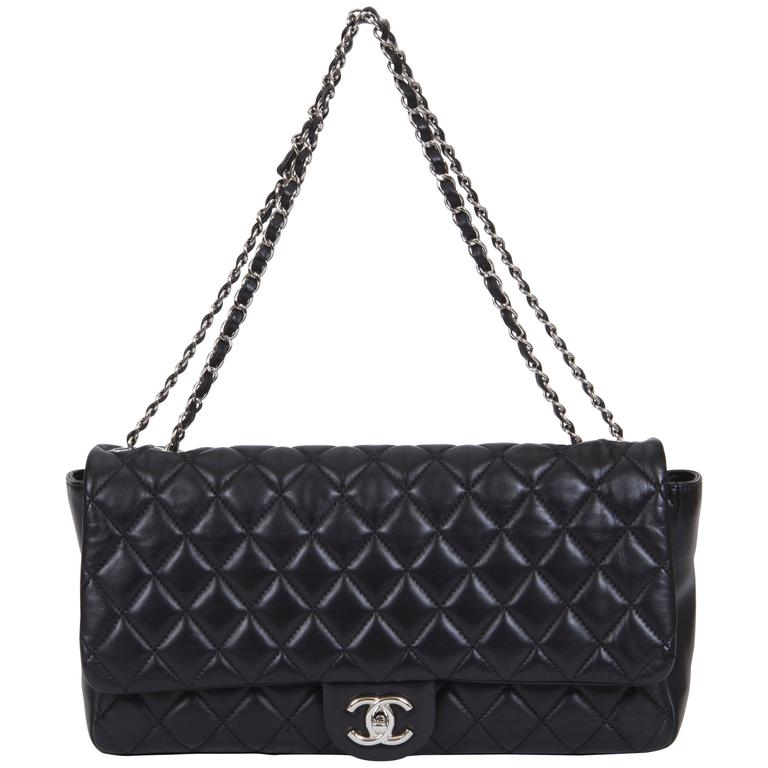 Chanel Jumbo Black Rain Jacket Flap Bag For Sale