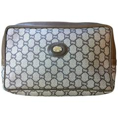 Vintage Gucci Plus beige monogram large size makeup case, toiletry pouch, p