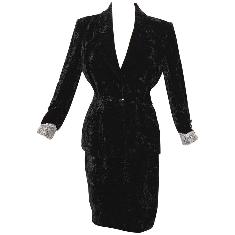 0818ce1e8274f Rare Adolfo Saks Fifth Ave Black Silk Velvet Suit 2pc Jacket + Pencil Skirt  60s