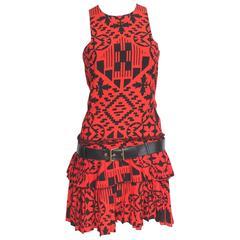 New Alexander McQueen Resort 2014 Red Print Pleated dress 38 uk 6-8