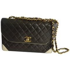 Beautiful Vintage Chanel two-tone (chocolate/beige) Flap Handbag
