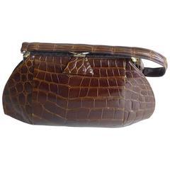 Very Well Made 1950s Brown Crocodile Handbag