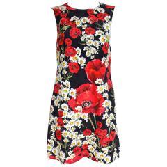 DOLCE & GABBANA 2016 Daisy and Poppy Print Shift Dress It 44 Uk 12  Black, red a