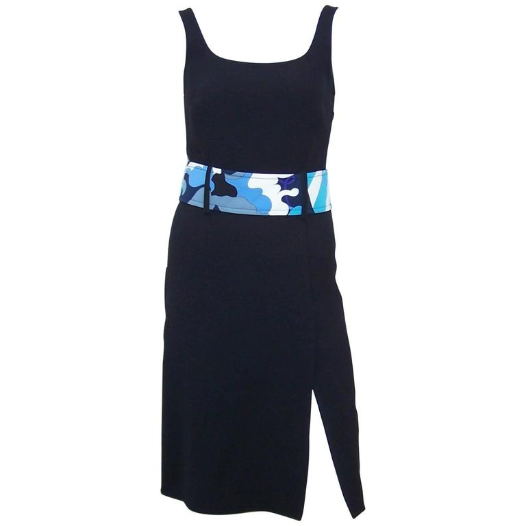 C.2000 Emilio Pucci Black Silk Tank Dress With Mod Belt