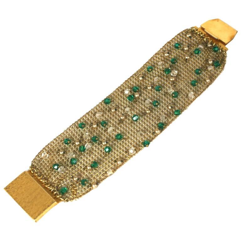Sandor Jeweled Mesh Bracelet For Sale