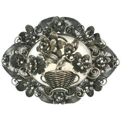Victorian English Silver Filigree Basket Brooch