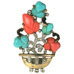 Trifari Fruit Salad Chinoiserie Potted Tree Brooch