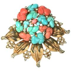 Trifari Alfred Philippe Pastel Fruit Salad Bouquet Brooch