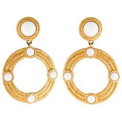 Givenchy Vintage Textured Gold Resin Doorknocker Statement Hoop Evening Earrings