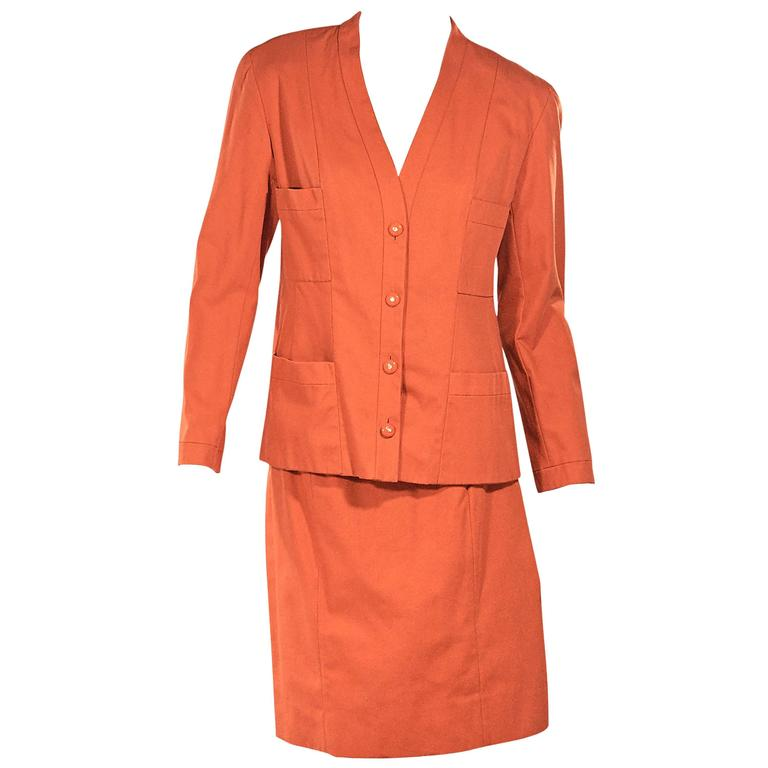 Orange Vintage Chanel Skirt Suit Set