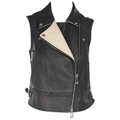 Black Belstaff Leather Moto Vest