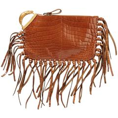 Valentino NEW RUNWAY Cognac Leather Gold Detail Carryall Evening Clutch Bag