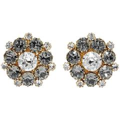 Dolce & Gabbana NEW & SOLD OUT Gunmetal Crystal Starburst Evening Stud Earrings
