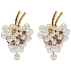 Dolce & Gabbana NEW & SOLD OUT Pearl Gold Crystal Grape Evening Earrings