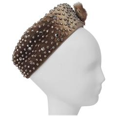 60s Hand Studded Pill Box Cocktail Hat with Mink Bow