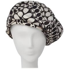 60s I Magnin Black and White Print Baret