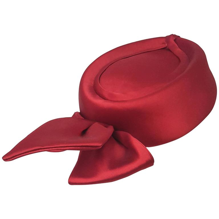 50s Cranberry Satin Bow Pill Box Fashion Hat