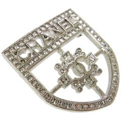 Chanel Rare CURRENT Silver Crystal Crest Shield Pendant Brooch in Box