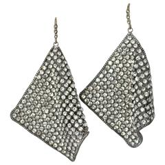 70s Rhinestone Mesh Earrings