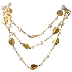 80s Givenchy Hammered Leaf & Faux Pearl Triple Chain Necklace