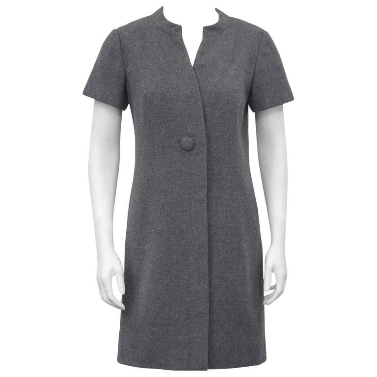 1960s Christian Dior New York Grey Wool Dress  For Sale