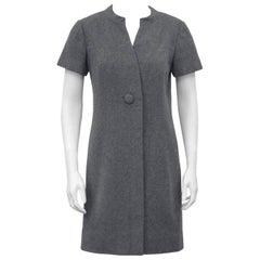 1960s Christian Dior New York Grey Wool Dress