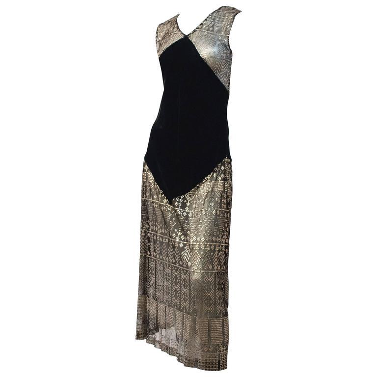 20s Art Deco Sterling Silver Assuit and Silk Velvet Dress 1