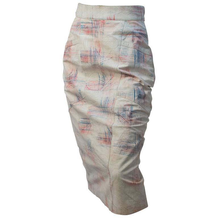 80s Pastel Abstract Leather Pencil Skirt