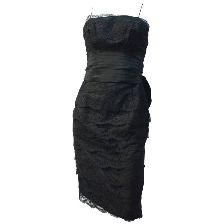 50s Black Lace Tiered Dress with Back Bow  For Sale