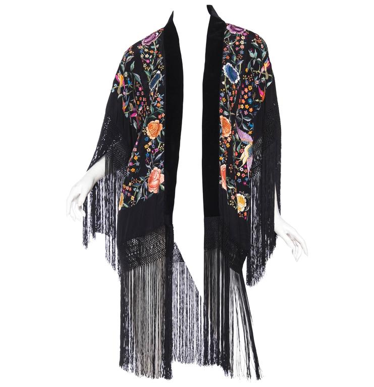 Hand Embroidered Kimono made from Vintage Chinese Shawl with Fringe and Peacocks