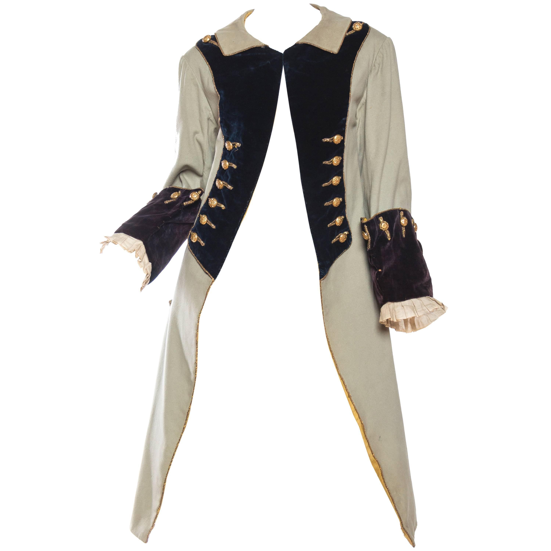 Victorian Grey & Black Wool Velvet Men's Frock Coat With Metal Braiding And Gol