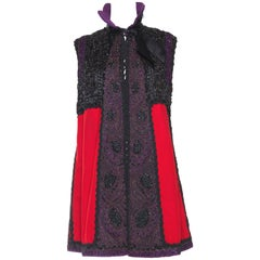 MORPHEW COLLECTION Red & Black Silk Wool Vest Made With Victorian Fabric, Beadw