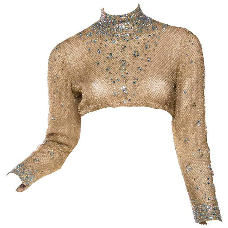 1960s Fabulous Crystal Encrusted Gold Net Top At 1stdibs
