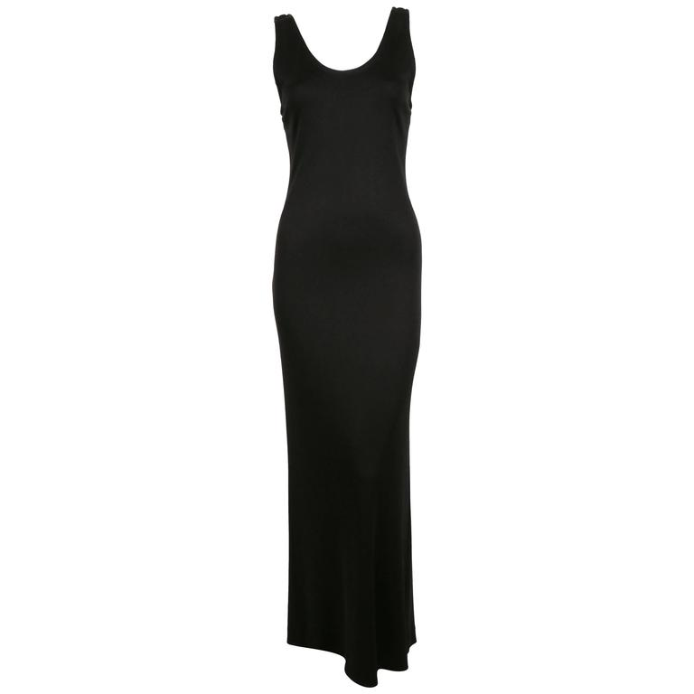 1986 YVES SAINT LAURENT black jersey dress with train For Sale