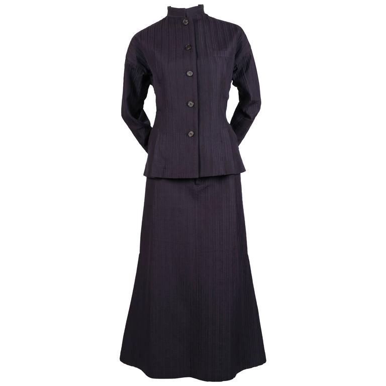 1990's ISSEY MIYAKE navy blue jacket and skirt with top-stitching