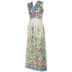 1970s Metallic Chiffon Maxi-Dress