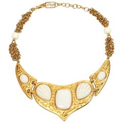 Yves Saint Laurent Gilt Necklace With Ivory Resin, 1970s