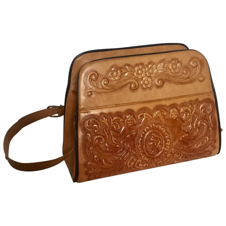 1970s Mexican Hand Tooled Leather Handbag at 1stdibs