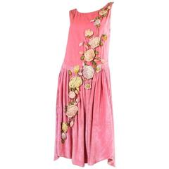 1920's Pink Velvet Dress with Ribbon Embroidery