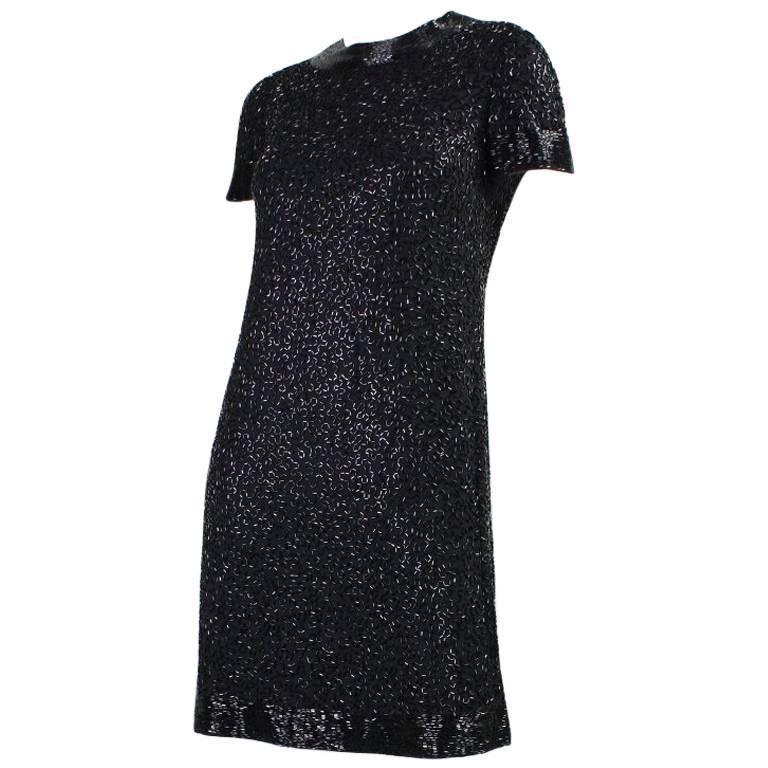 1960's Larry Aldrich Black Beaded Cocktail Dress