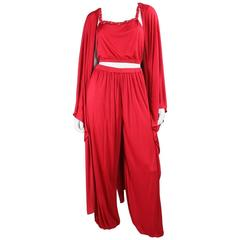 1970's Holly's Harp Red Matte Jersey Ensemble