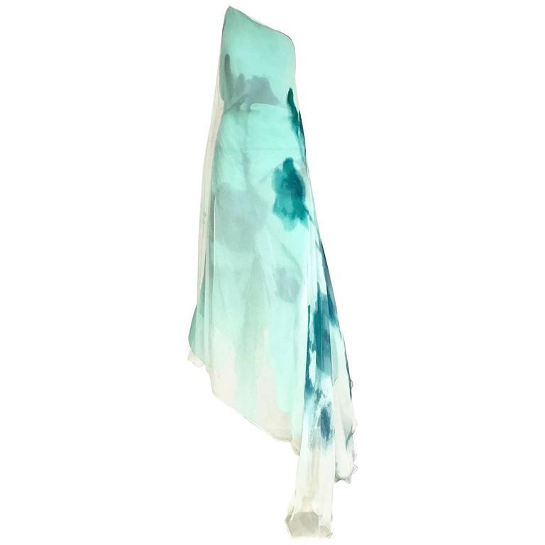 Donna Karan Minty Green Ombre Silk Chiffon Asymetrical Dress
