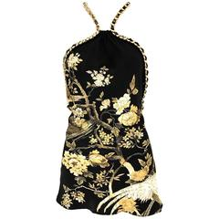 Roberto Cavalli black and gold floral print  silk print halter chain top