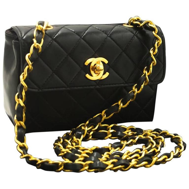2a4a5efedfb3 CHANEL Super Mini Mini Chain Shoulder Bag Crossbody Black Quilted For Sale