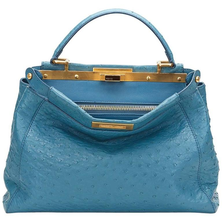 2000's Fendi Blue Ostrich Leather Small Peekaboo For Sale