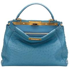 2000's Fendi Blue Ostrich Leather Small Peekaboo
